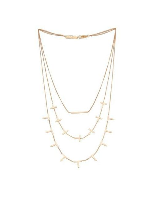 VIOLLINA - Metallic Vowel Lines Triple Layered Necklace - Lyst