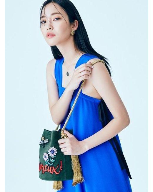 W Concept - Multicolor Mini Bucket Tassel Bag Khaki - Lyst
