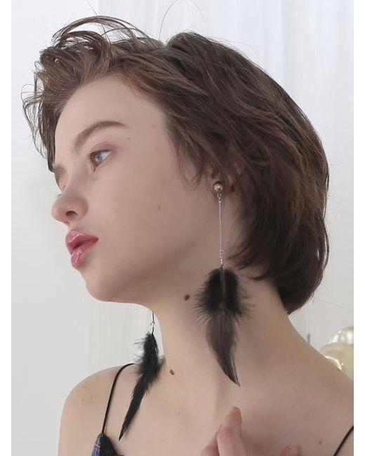 CLUT STUDIO - 1 2 Feather Earrings Black - Lyst