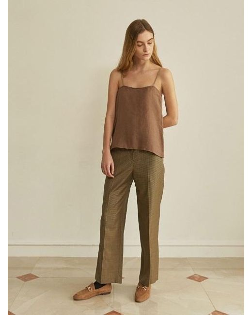 W Concept - Brown Ann Check Bootcut Pants - Lyst