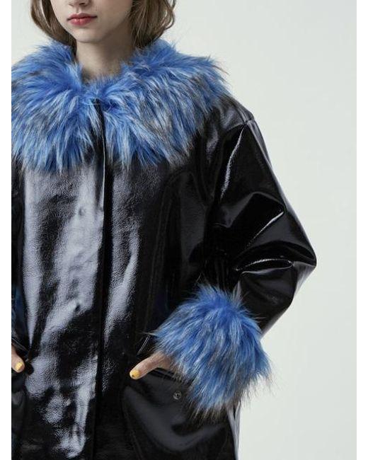 Fleamadonna - Blue Fur Trimming Patent Coat - Lyst