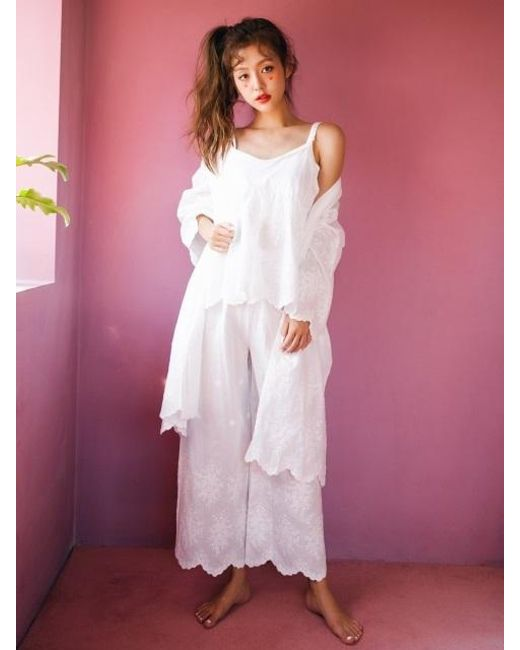 ULLALA PAJAMAS - White Flower Ivory Long Pants Two Piece - Lyst