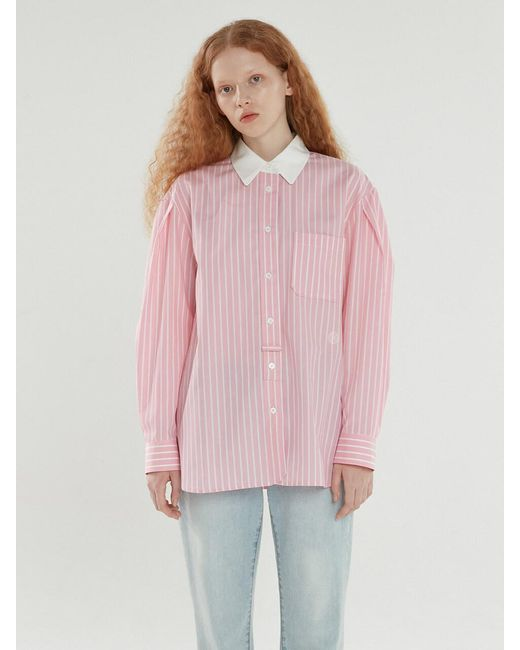 A.T.CORNER Cotton Stripe Shirts (pink)