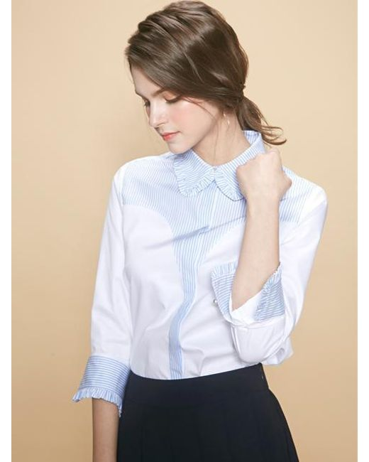 W Concept - White Bel Stripe Frill Shirt - Lyst