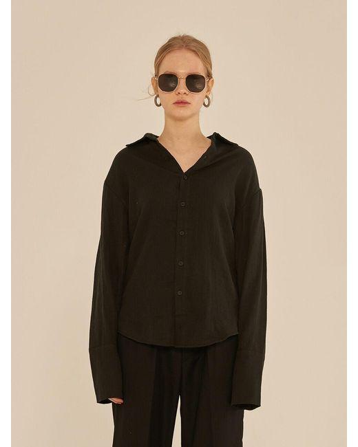 13Month Black Long Sleeve Linen Shirt