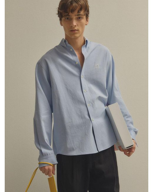NOHANT Blue Logo Oxford Shirt