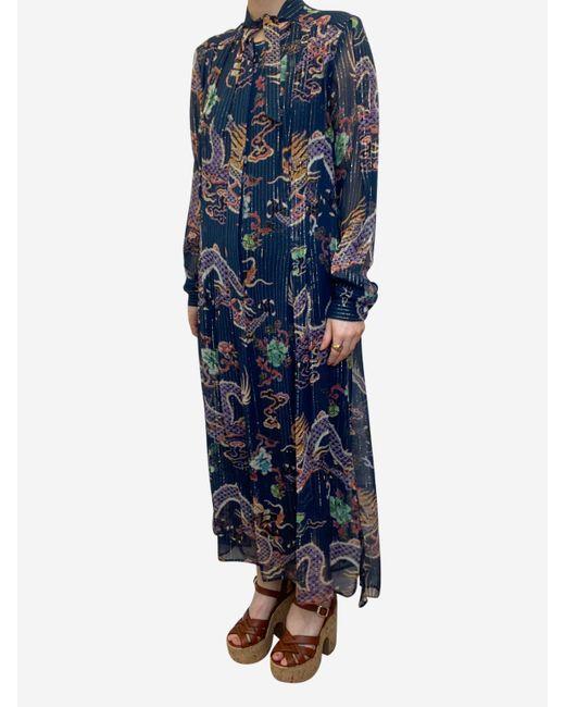 Isabel Marant Blue Midi Dress With Metallic Oriental Pattern