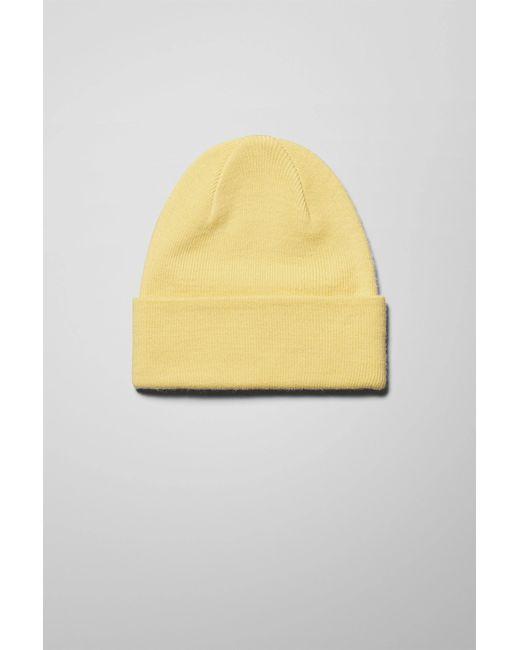 Weekday Yellow Hero Knit Beanie for men