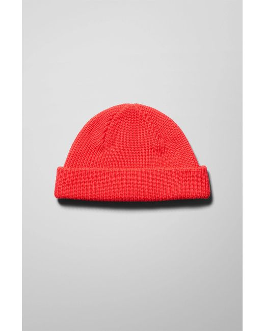 Weekday Red Stan Beanie for men