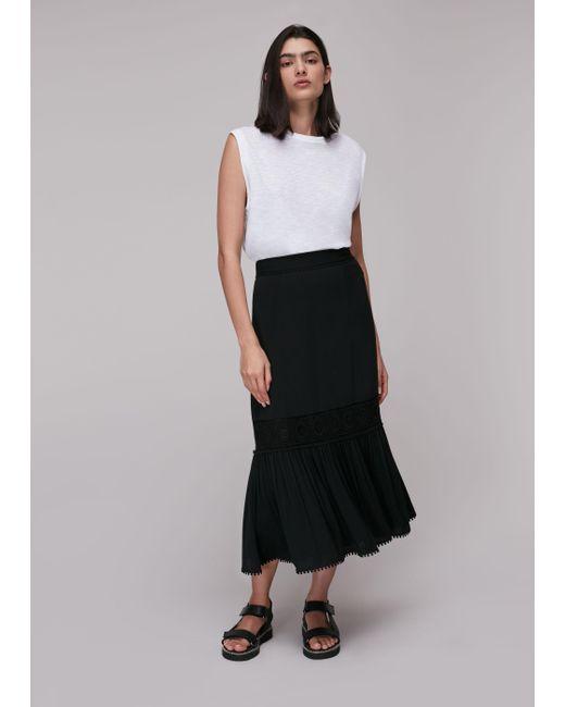 Whistles Black Ada Crochet Detail Skirt