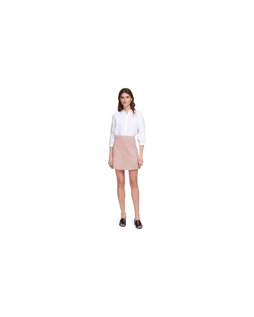 whistles suede aline detail skirt in pink lyst