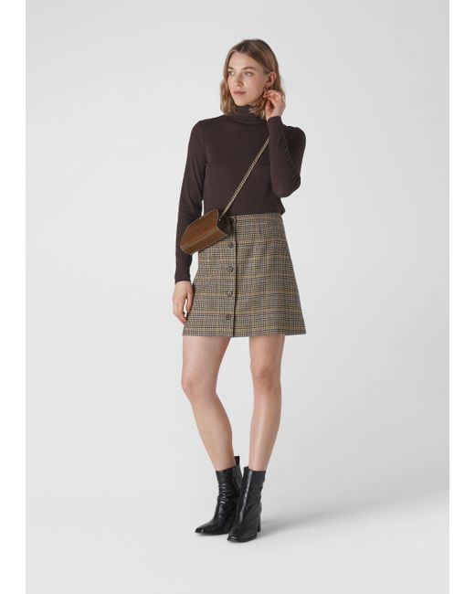 Whistles Multicolor Houndstooth Button Aline Skirt