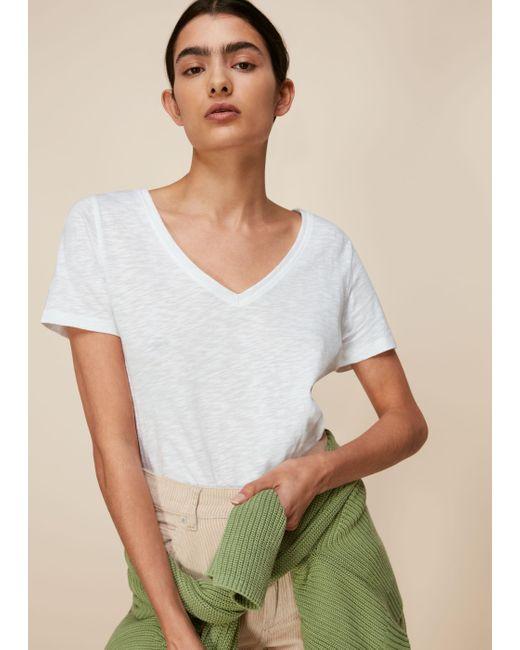 Whistles White Sophie V Neck Cotton Tshirt