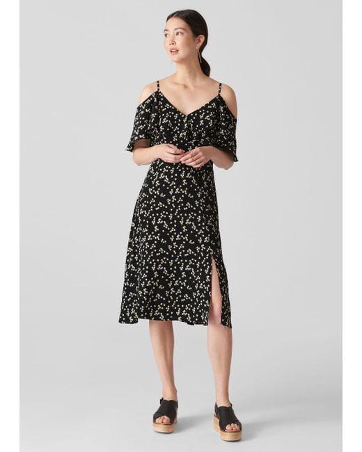 Whistles Black Daisy Print Frill Dress