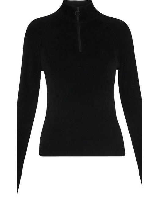 Whistles Black Zip Front Chenille Knit