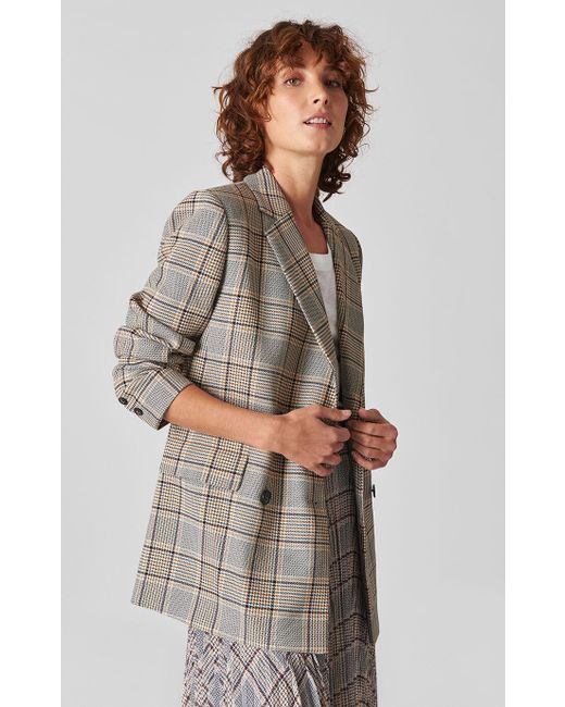 f0a552282632 Whistles Check Double Breasted Blazer in Gray - Save 16% - Lyst