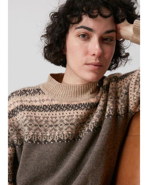 Whistles Gray Fairisle Crew Neck Sweater
