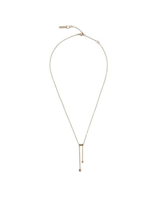 Whistles - Metallic Double Post Sphere Necklace - Lyst