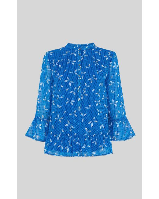 Whistles - Blue Polly Spot Dobby Blouse - Lyst
