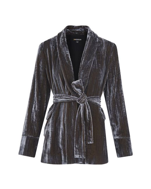 Whistles - Metallic Crushed Velvet Wrap Jacket - Lyst