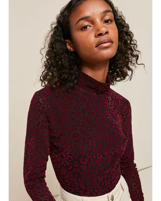 Whistles Multicolor Flocked Animal Mesh Top