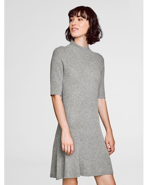 White + Warren | Gray Cashmere Ribbed Swing Dress | Lyst