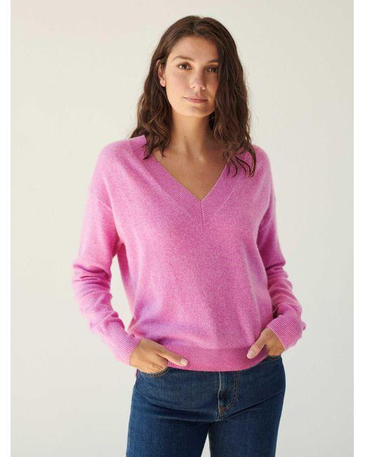 White + Warren Pink Essential Cashmere V Neck