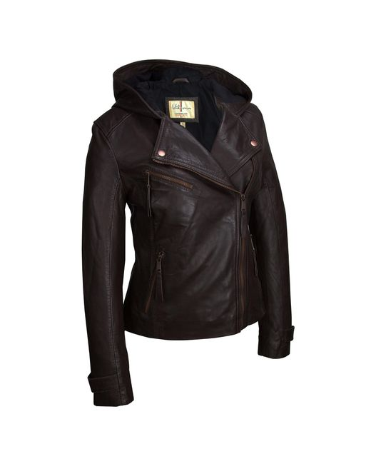 Wilsons Leather - Brown Vintage Asymmetrical Jacket W/ Leather Hood - Lyst