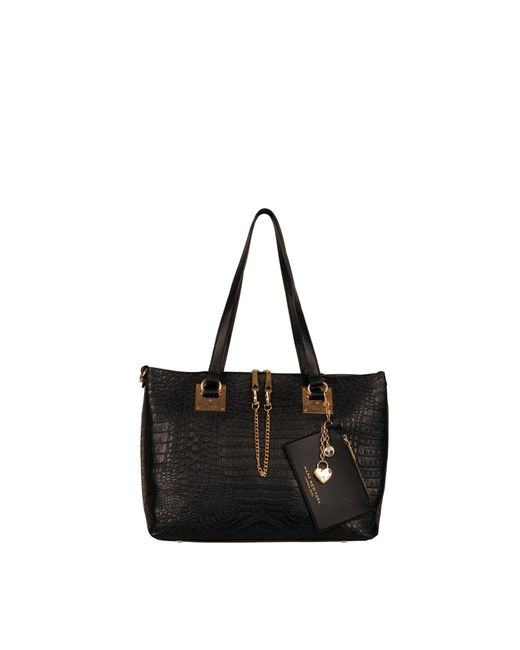 Wilsons Leather Black Mia Faux-leather Tote With Wristlet