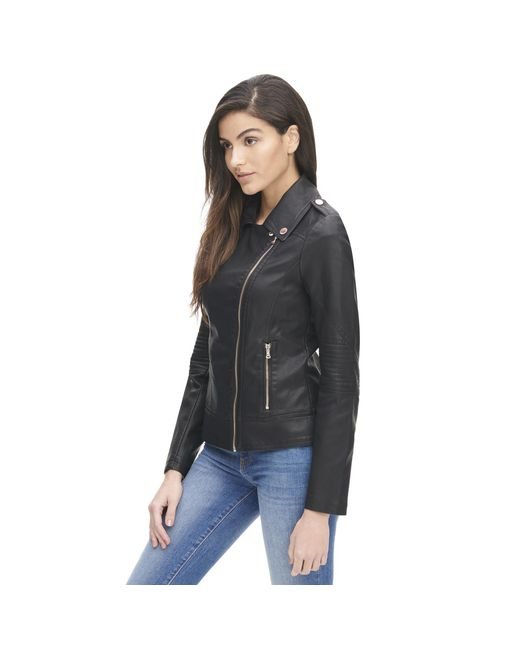 f6d02b619c037 ... Wilsons Leather - Black Plus Size Marc New York Faux-leather Cycle  Jacket W  ...
