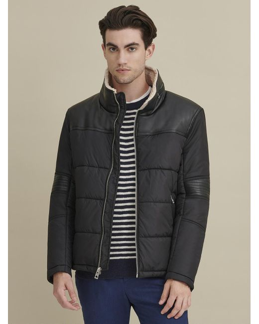 Wilsons Leather Black Sherpa Lined Puffer Jacket for men