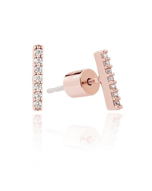 Astrid & Miyu | Pink Hold On Small Bar Earrings In Rose Gold | Lyst