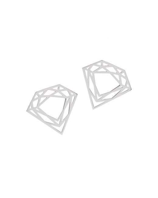 Myia Bonner - Metallic Silver Classic Diamond Stud Earrings - Lyst