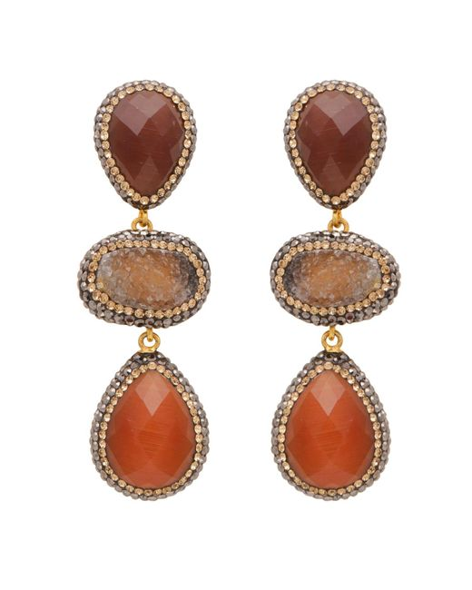 Carousel Jewels - Multicolor Carnelian And Rough Cut Agate Earrings - Lyst
