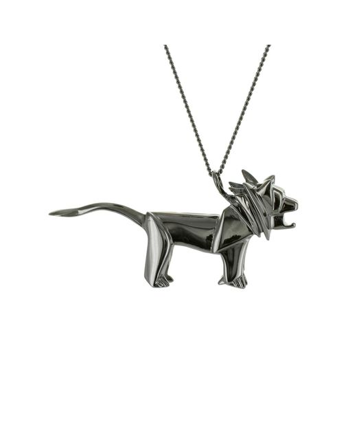 Origami Jewellery - Lion Necklace Black Silver - Lyst