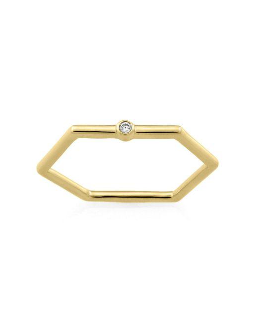 Monarc Jewellery - Metallic The Solitaire Hexi Stacker Ring 9ct Gold & Diamond - Lyst