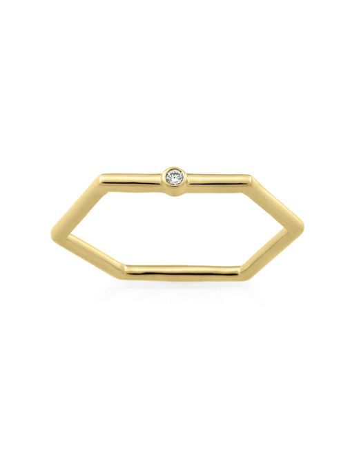 Monarc Jewellery - Metallic The Solitaire Hexi Stacker Ring 9ct Gold & White Sapphire - Lyst