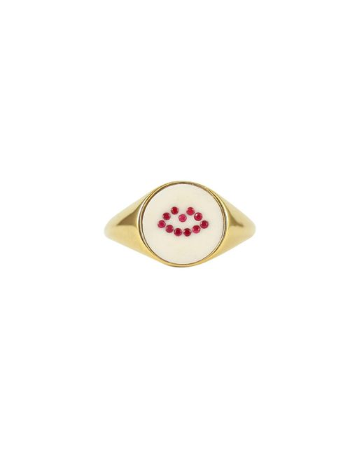 Lee Renee - Metallic Ruby Lip Signet Ring - Lyst