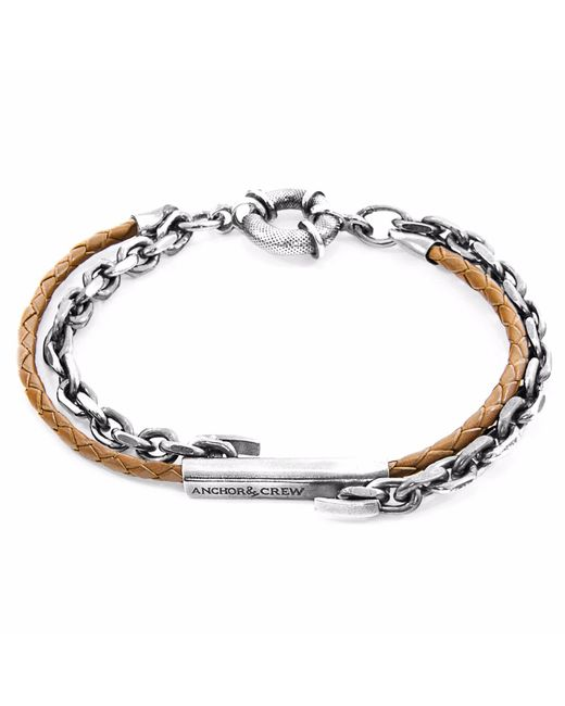 Anchor & Crew | Light Brown Belfast Silver & Leather Bracelet for Men | Lyst