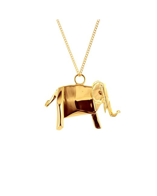 Origami Jewellery | Metallic Elephant Necklace Gold | Lyst