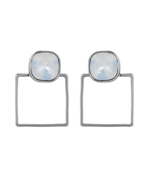 Nadia Minkoff | Square Frame Earring Silver White Opal | Lyst