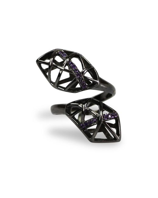 Bellus Domina | Black Amethyst & Ruthenium Plated Helical Ring | Lyst