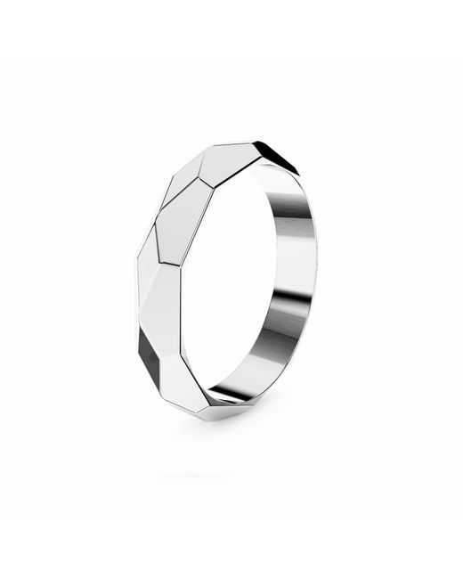 MARCELLO RICCIO   Faceted White Gold Plated Ring   Lyst