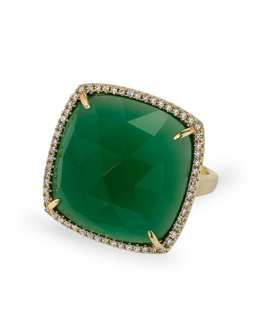 Anne Sisteron | 14kt Yellow Gold Green Agate Diamond Triplet Cushion Cut Cocktail Ring | Lyst
