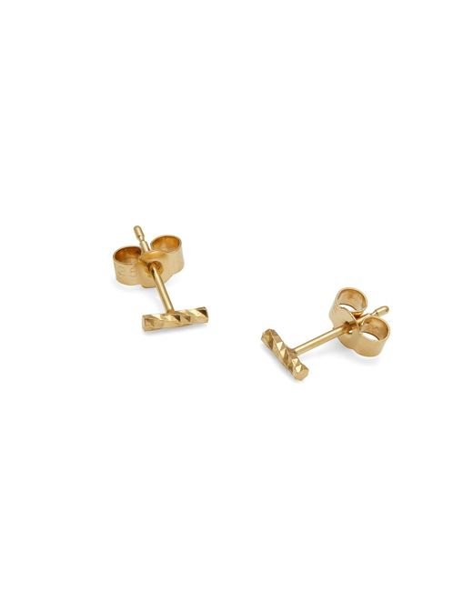 Myia Bonner - Metallic Gold Mini Diamond Bar Stud Earrings - Lyst
