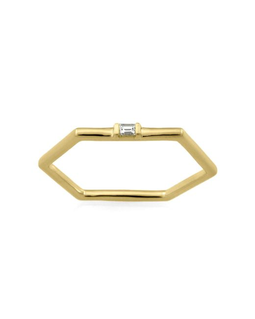 Monarc Jewellery - Metallic The Baguette Hexi Stacker Ring 9ct Gold And Sapphire - Lyst
