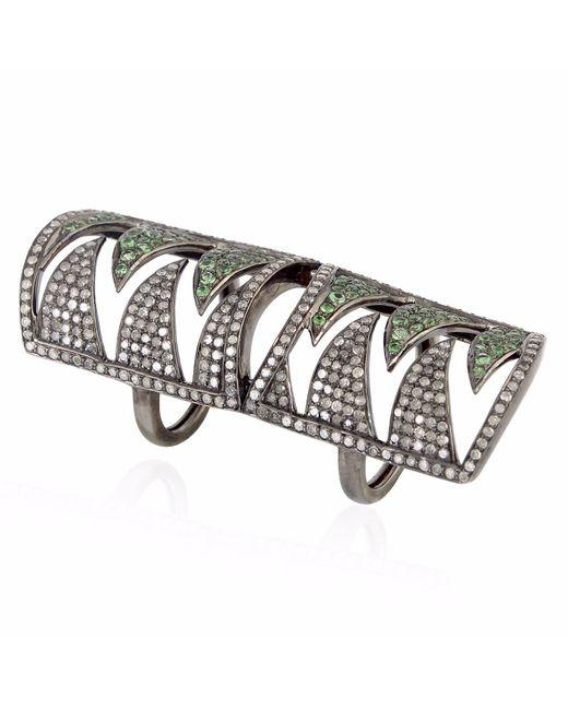 Meghna Jewels | Metallic Interlocking Claw Ring Diamonds & Tsavorite | Lyst