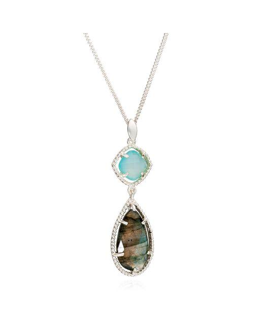 Azuni London | Metallic Delphi Diametric Necklace In Aqua & Labradorite | Lyst