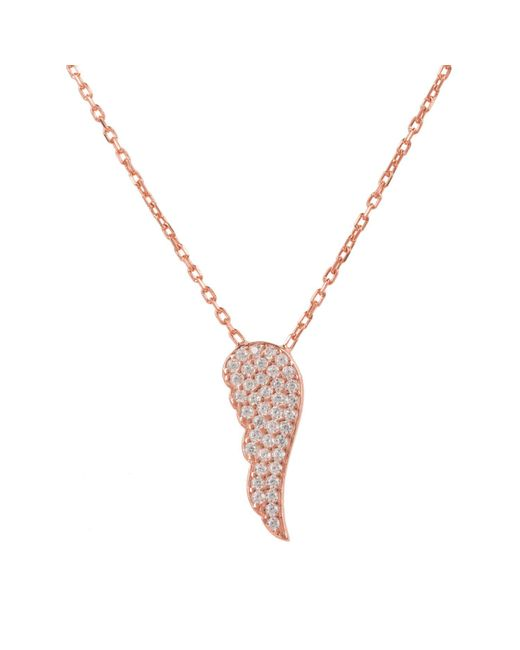 Latelita London | Metallic Small Angel Wing Necklace Rosegold | Lyst