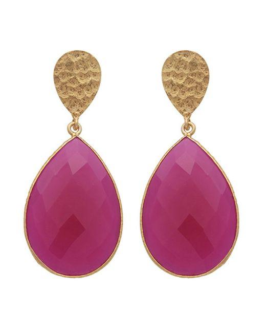 Carousel Jewels | Metallic Double Drop Fuchsia Chalcedony & Gold Nugget Earrings | Lyst